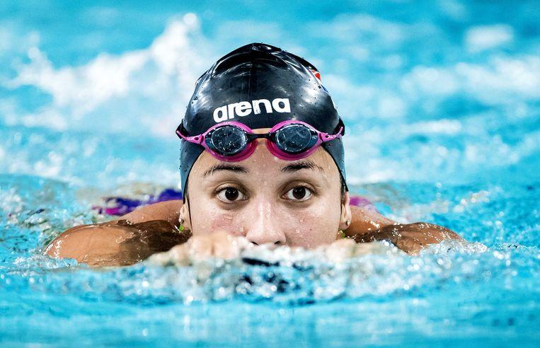 Ranomi Kromowidjojo tijdens een open training in het Pieter van den Hoogenband Zwemstadion in aanloop naar het EK zwemmen in Glasgow. Beeld ANP