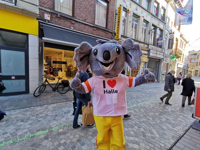 Mascotte Hope van de Verenigde Handelaars van Halle was natuurlijk ook van de partij.