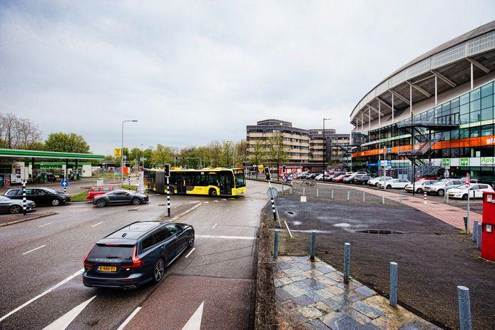 Het gebied rondom stadion Galgenwaard wordt groener en minder gericht op auto's.