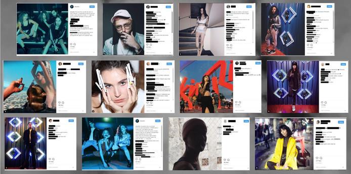 Voorbeelden van posts waarin sigarettenmerken worden gepromoot.