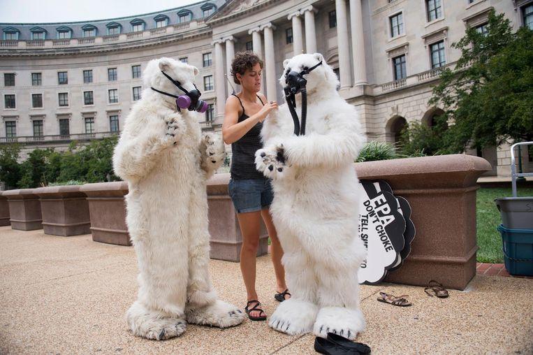 Medewerkers van Greenpeace maken zich bij het hoofdkantoor van EPA in Washington op voor een protest tegen boringen van Shell in het noordpoolgebied. Beeld getty