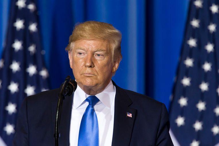 De Amerikaanse president Donald Trump tijdens een persconferentie op de G20 in Osaka, Japan.  Beeld Getty Images