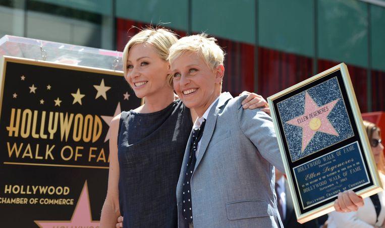 Ellen DeGeneres en haar echtgenote Portia de Rossi. Beeld EPA