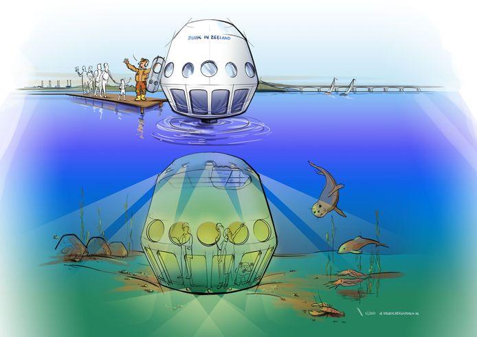 Impressie van de onderwaterlift in Oosterschelde