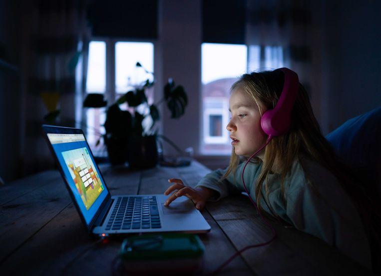 Een leerling van 8 maakt taalopdrachten via internet. Beeld ANP