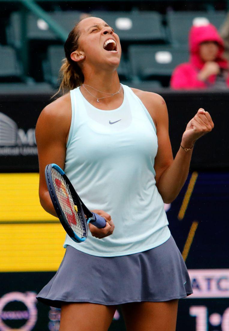 Madison Keys viert haar winst in de halve finale.