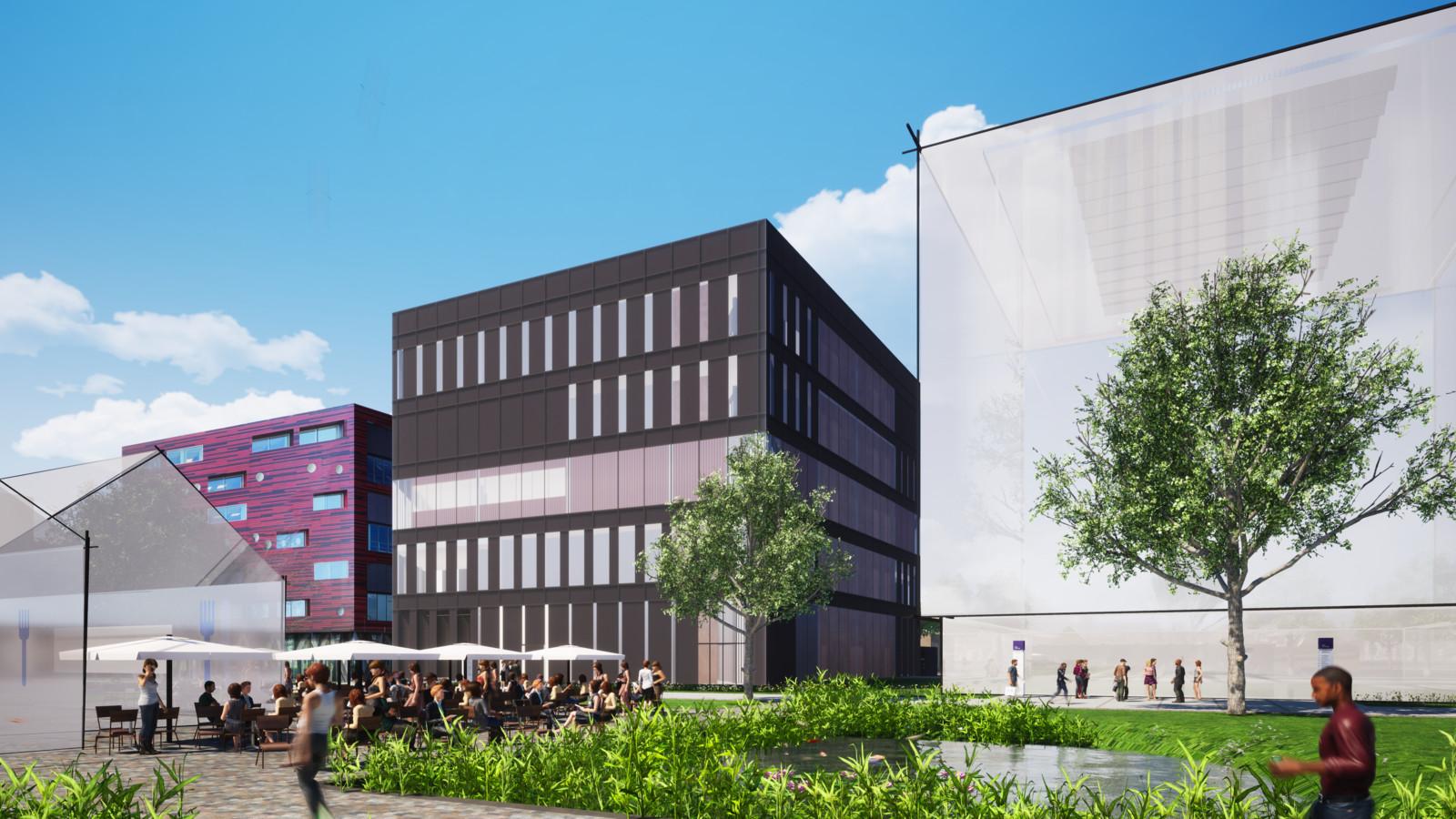 Het zwarte gebouw heeft de werknaam Panther. Hierin vestigt zich één enkel bedrijf, dat volgens alle partijen een grote naam in de farmaceutische wereld is. Linksvoor het campusrestaurant.