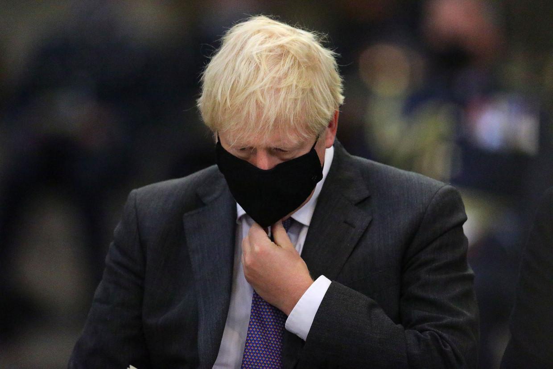 Brits premier Boris Johnson bij een herdenking van de 80ste verjaardag van de Battle of Britain in Westminster Abbey, zondag.