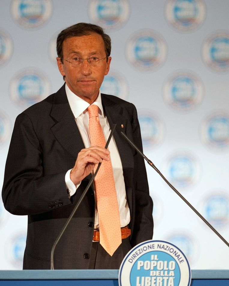 Kamervoorzitter Gianfranco Fini ging in de clinch met Silvio Berlusconi.