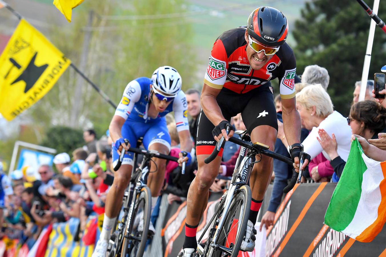 Tombé dans le Vieux Quaremont, en même temps que Peter Sagan et Oliver Naesen, Greg Van Avermaet se contente de la deuxième place en 2017, derrière Philippe Gilbert.