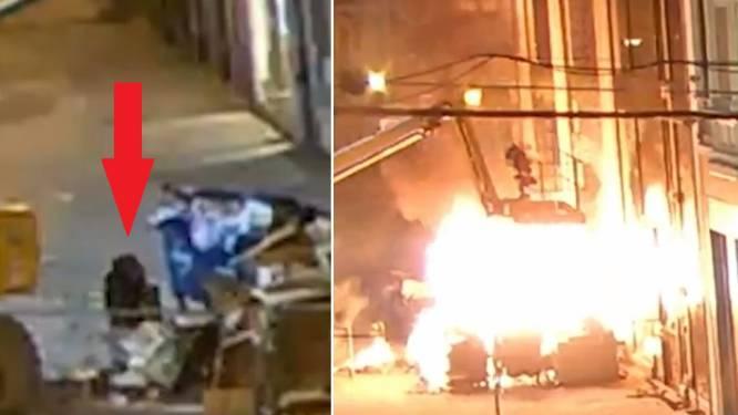 Beelden tonen hoe twee mannen brand stichten aan pas gerenoveerde sportwinkel