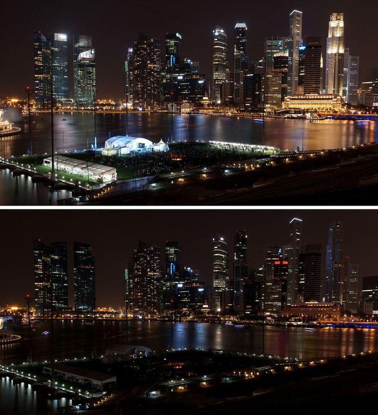 De skyline van Singapore. Beeld ap