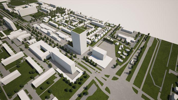 Het eerste plan voor een torenflat bij winkelcentrum 't Plateau in Spijkenisse-Noord was hoger dan de 22 verdiepingen van nu.