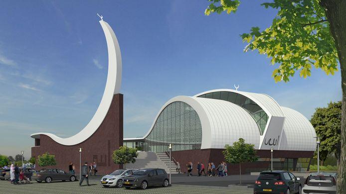 Een eerste ontwerp van het Turks Cultureel Centrum inclusief moskee voor de hoek Kuipersdijk/Wethouder Beverstraat, met de 25 meter hoge minaret in de vorm van een halve maan.