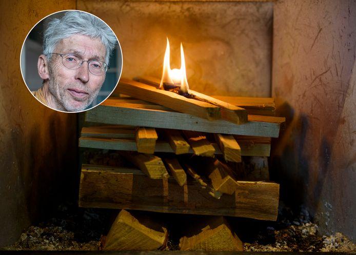 Een houtkachel, maar ook tuinkachels, veroorzaken volgens Johan Vollenbroek (inzetje) milieuschade en gezondheidsklachten. Hij pleit voor een verbod op het stoken van hout.