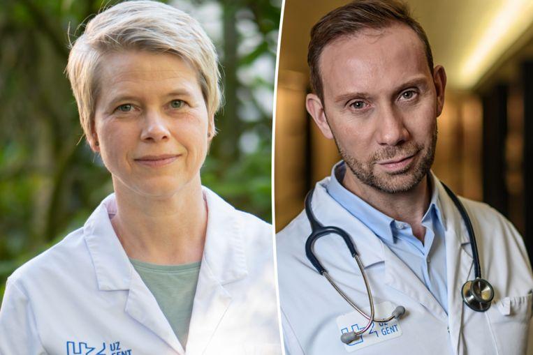 Dermatologe Lieve Brochez en endocrinoloog Guy T'Sjoen van het UZ Gent. Beeld UZ Gent - Geert Van de Velde