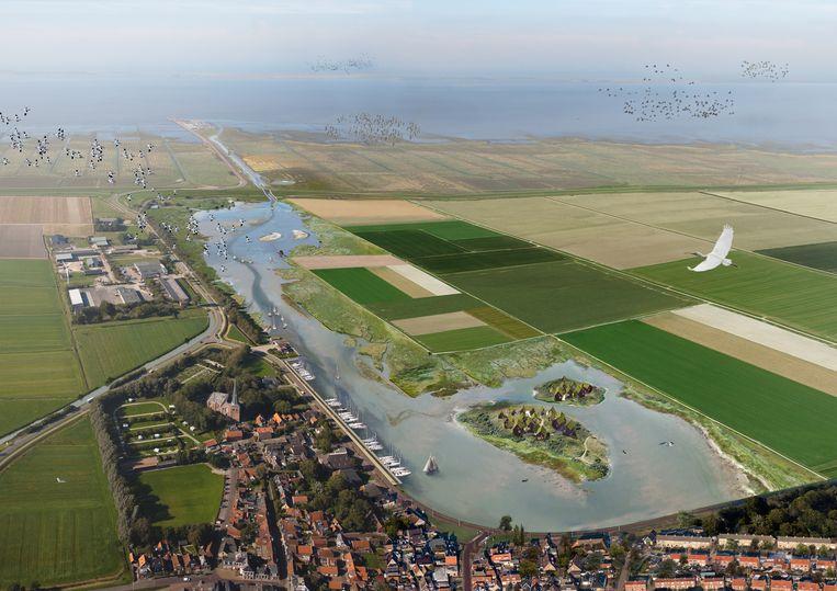 Artist impression van Holwerd aan Zee. Met doorgebroken dijk, waardoor een verbinding met de Waddenzee ontstaat. Beeld Buro Harro