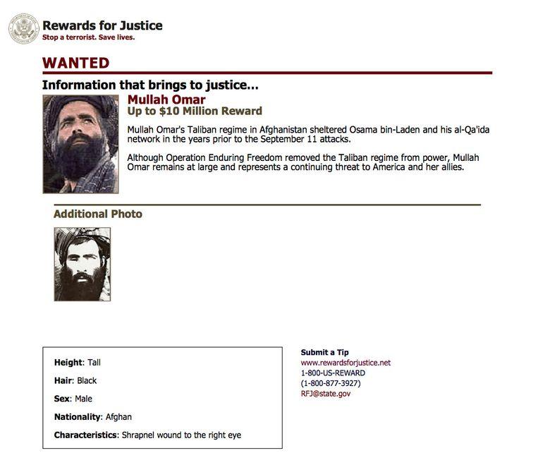Op de aanhouding van Mullah Omar stond een beloning van 10 miljoen dollar. Beeld AP