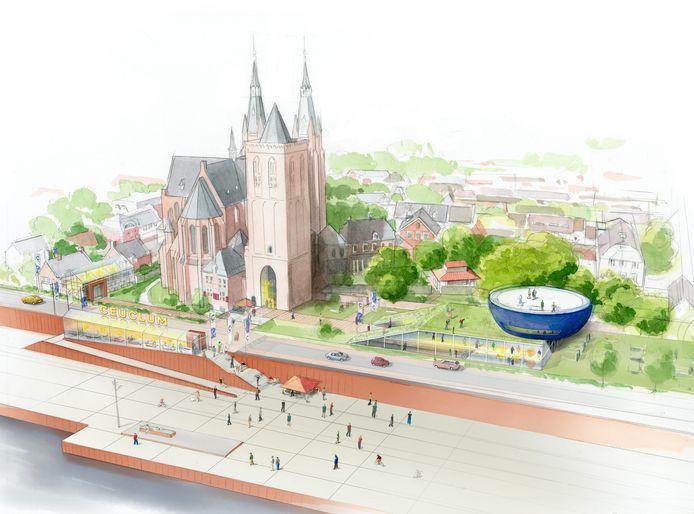 Blik op het mogelijk nieuwe Romeins kwartier van Cuijk, met op de voorgrond de Maaskade. De blauwe kom rechts met gebouw eronder moet het Ceuclum Archeo Experience center worden.
