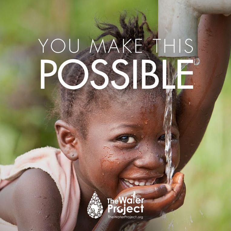 Campagnebeeld van The Water Project, dat een gift in bitcoins ontving van Darkside. Beeld TheWaterProject.org