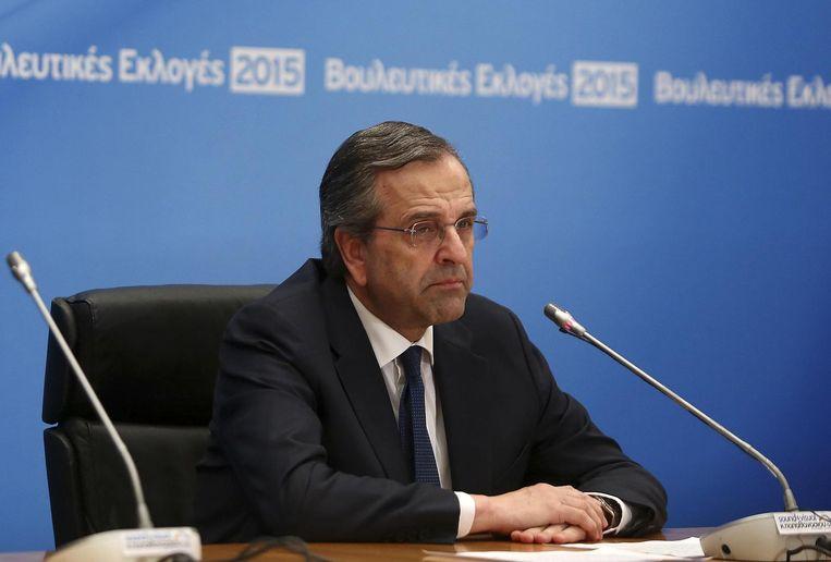 Premier Antonis Samaras heeft zijn nederlaag toegegeven. Beeld REUTERS