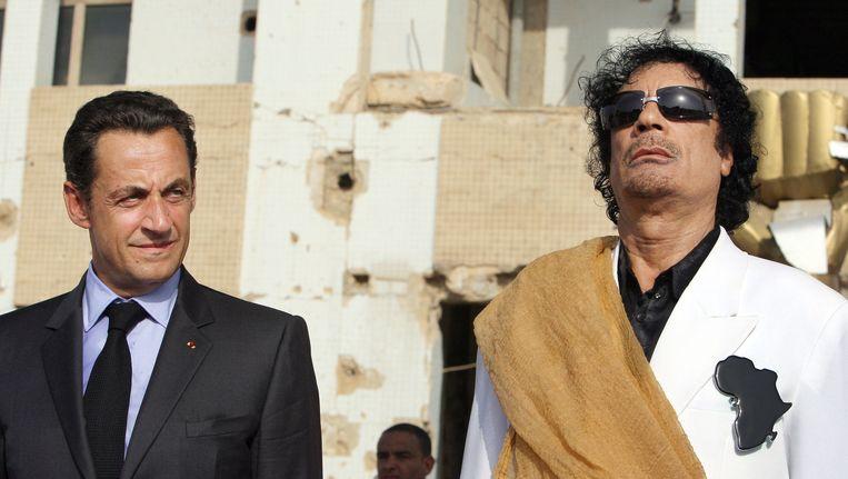 Sarkozy en Kaddafi in 2007. Beeld AFP