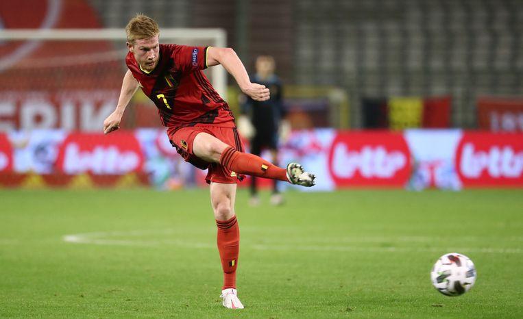 Kevin De Bruyne strooit met passes bij de Rode Duivels. Hij speelt op 29 mei nog de finale van de Champions League met Man City. Beeld BELGA
