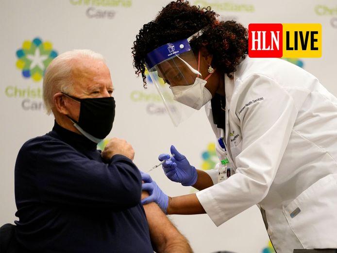 President-elect Joe Biden liet zich vaccineren in Newark, Delaware.