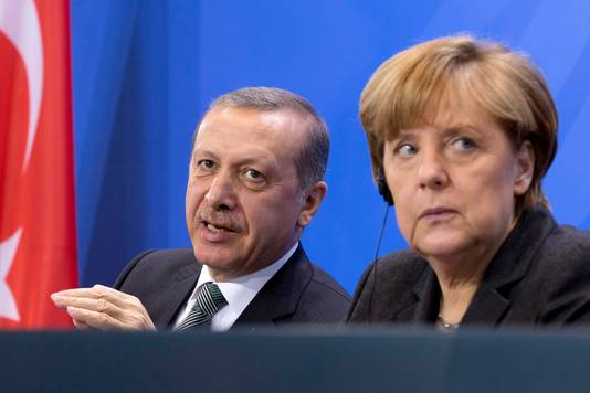 Erdogan en de Duitse bondskanselier Angela Merkel.