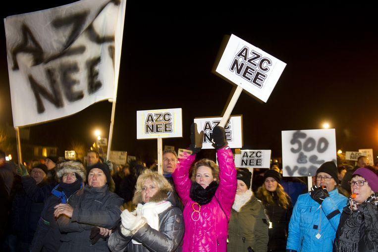 Demonstratie in Heersch tegen de komst van een vluchtelingen opvangcentrum Beeld anp