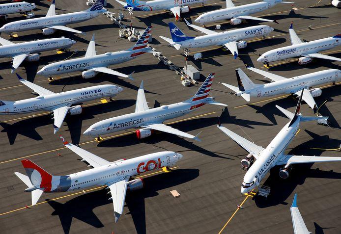Tientallen Boeing 737 MAX toestellen staan aan de grond op de luchthaven van Seattle.