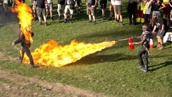 Stuntman in brand op metalfestival Alcatraz