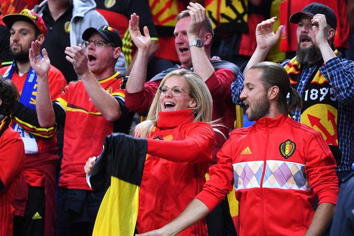 Belgische fans zondag tijdens de 0-2 van de Rode Duivels in Kazachstan.
