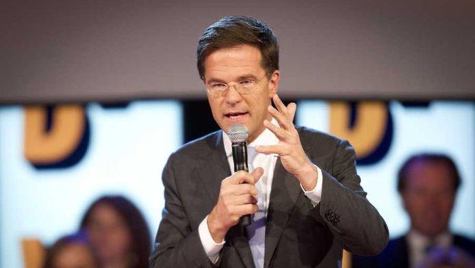 Premier Mark Rutte tijdens zijn speech op het VVD-congres.