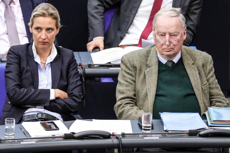 Alexander Gauland van de AfD en mede-fractieleider Alice Weidel in  de Duitse Bondsdag.