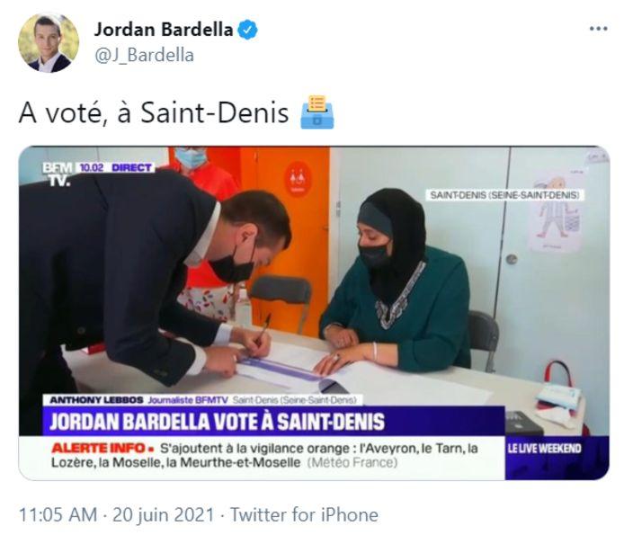 Le tweet de Jordan Bardella (RN, ex-FN)