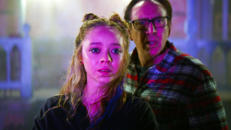 Nicolas Cage en Madeleine Arthur in 'Color out of Space'. Beeld rv