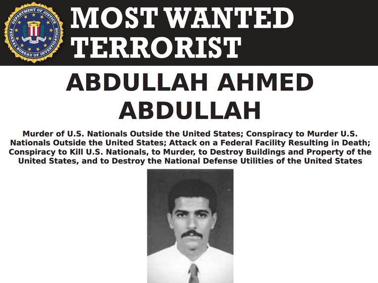 De foto van Abdullah Ahmed Abdullah op de lijst van 'meest gezochte terroristen' van de FBI.   Beeld FBI