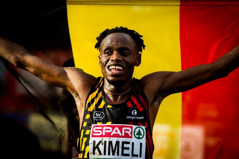 Isaac Kimeli is blij met zijn tweede plaats voor België. Beeld BELGA