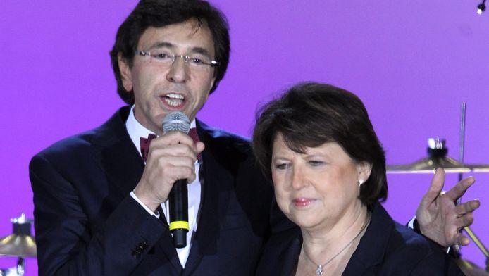 Elio Di Rupo aan het feest in Parijs, samen met Parti Socialiste-voorzitster Martine Aubry.