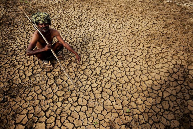 Een boer zit op zijn uitgedroogde land in Gauribidanur. Beeld epa