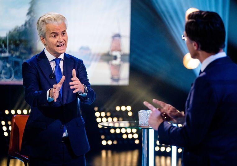 Lijsttrekkers Geert Wilders (PVV) en Mark Rutte (VVD) in debat tijdens Pauw's verkiezingsdebatten.  Beeld ANP