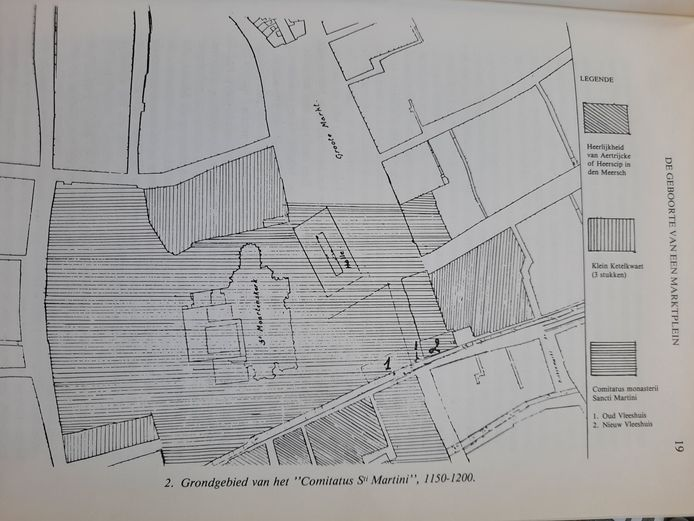 Situering van 'le vies (1) en le novel (2) Vleshus door Octaaf Mus.