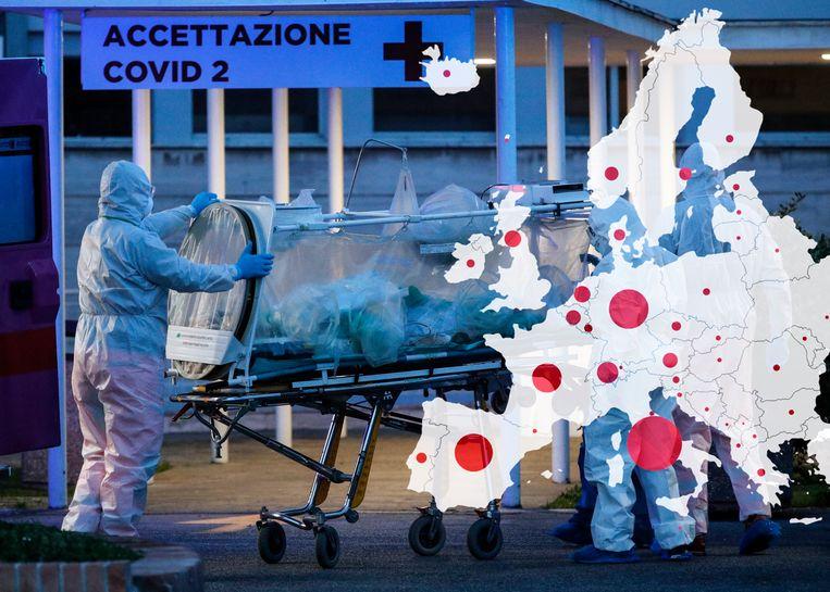 Een coronaviruspatiënt in Rome. Beeld EPA