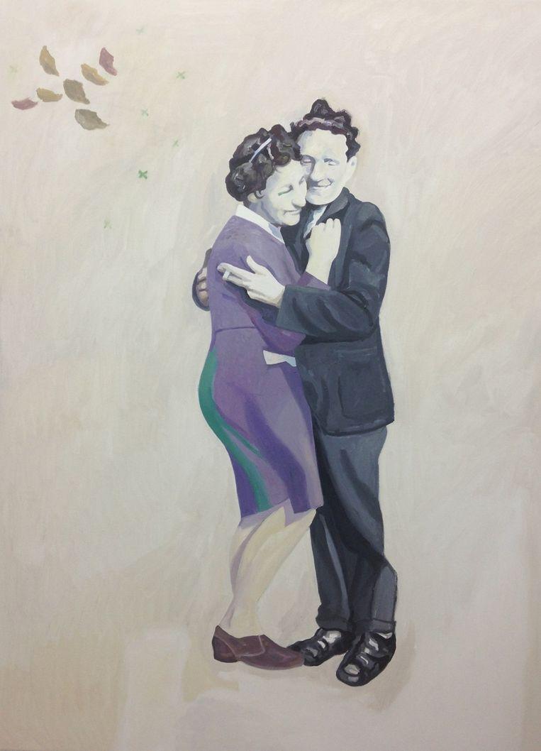 Jan baseerde in 2014 op bovenstaande foto zijn schilderij 'The Contract'.' Beeld Jan Vanriet