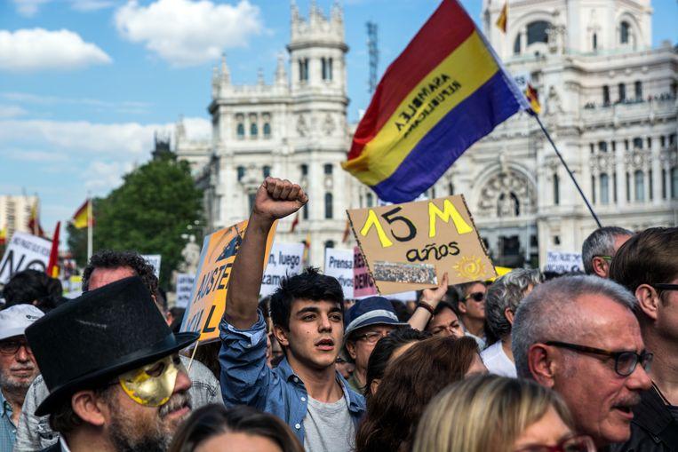 Protest in Madrid bij het vijfjarig bestaan van 15M Beeld LightRocket via Getty Images
