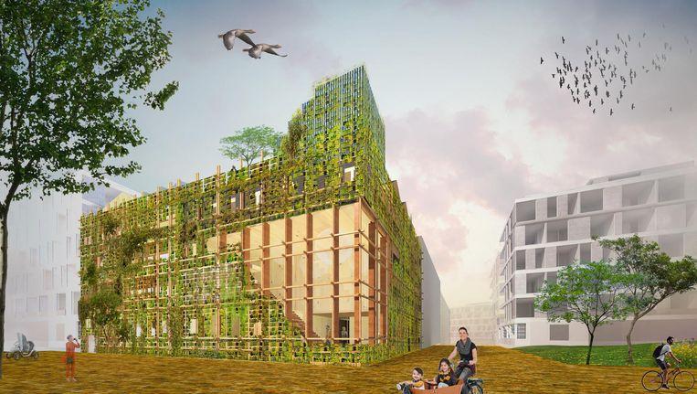 Artist impression van de nieuwbouw op Centrumeiland Beeld Natrufied Architecture