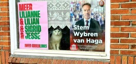 Een kat tussen een poster van GroenLinks en affiche van FVD: een garantie voor gemauw?