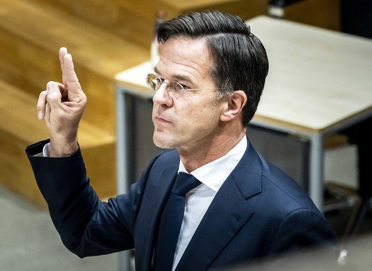 Premier Mark Rutte wordt gehoord door de parlementaire enquêtecommissie Kinderopvangtoeslag. Beeld ANP