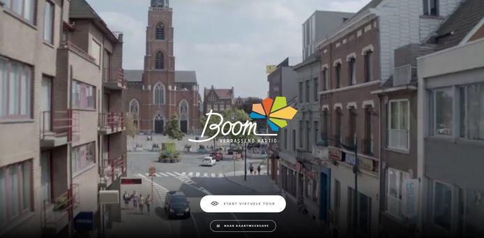 Het introscherm van de website 'Beleef Boom'.